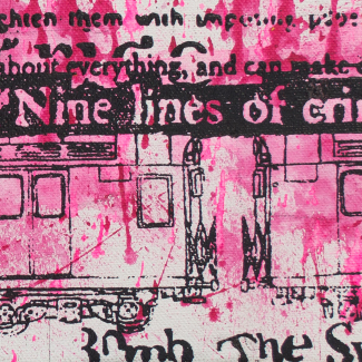 9 Lines of Crime: Mueller mixed media painting