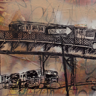 No Sleep 'Till Brooklyn mixed media painting