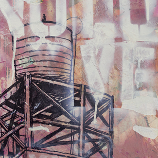 No Love Watertower mixed media painting