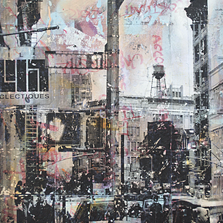 Wooster Street, NYC mixed media painting