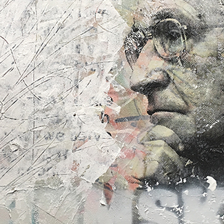 Bukowski & Chomsky Portrait mixed media paintings