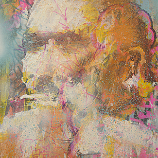 Bukowski mixed media portrait painting