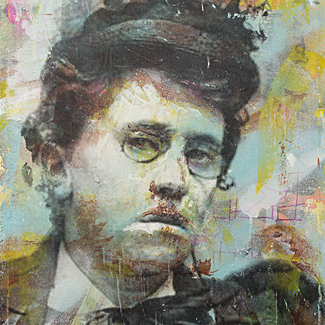 Emma Goldman mixed media portrait painting