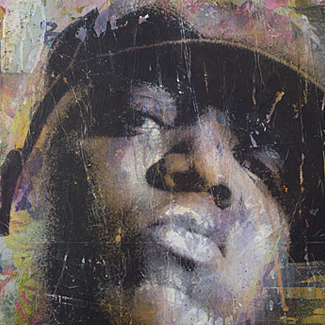 Biggie Smalls mixed media portrait painting