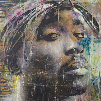 Tupac mixed media portrait painting