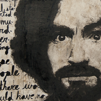 Charles Manson guache and ink portrait painting